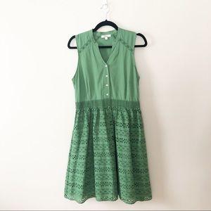 Anthropologie Wolven Green Eyelet Poplin Dress